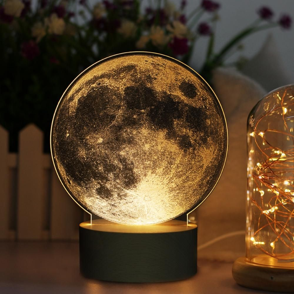 Lafgur Acrylic 3d Led Moon Nightlight Levitating Moon Lamp Diy Bedside Lamp Touch Control Usb Charging For Unique Holiday Gifts Room Decor Night Light Offi Lamp Bedside Lamp Night Light