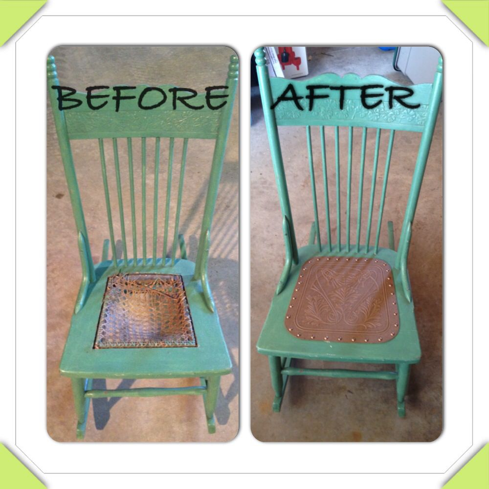 Replace Worn Cane Seat With Faux Leather Chairs Repurposed