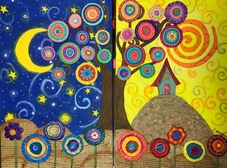 Tree Of Life Night And Day Arbol De La Vida Noche Y Dia Cuadros Con Arboles Pintura Del Arbol De La Vida Arbol De La Vida