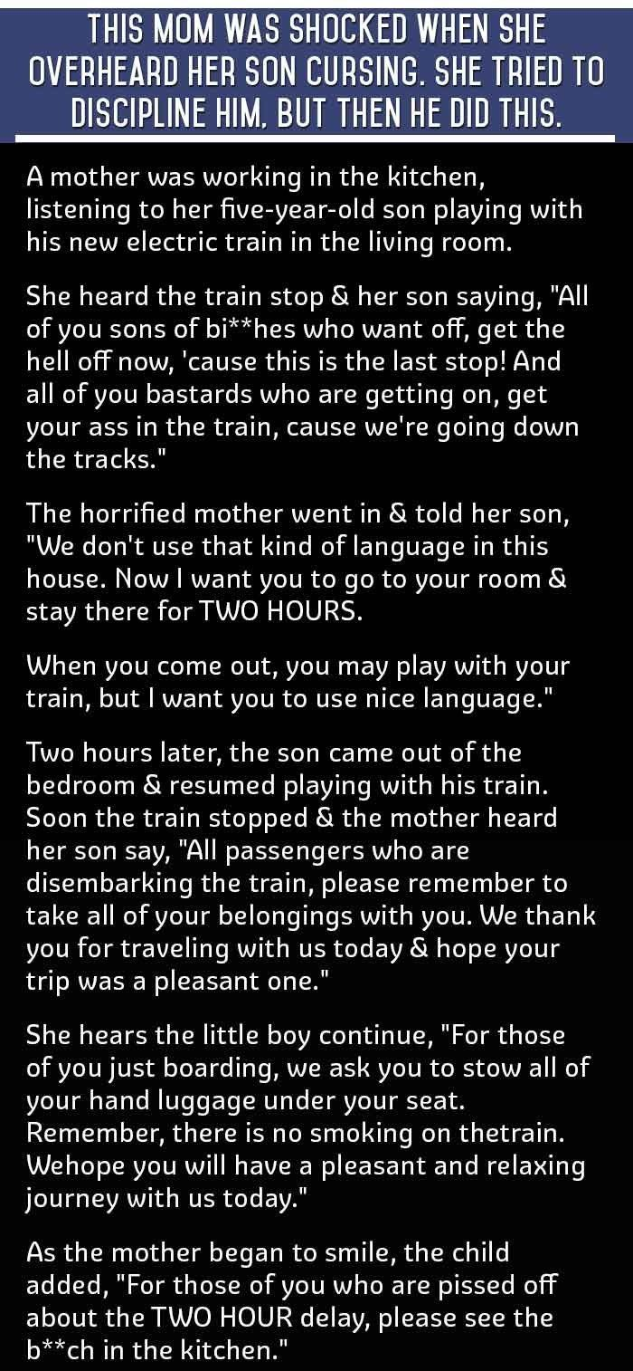 this mom was shocked when she heard her 5 year old son cursing she tries to punish him but then he says this funny quotes quote jokes story lol funny quote