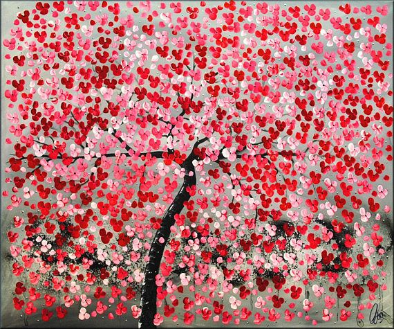Acrylic art painting red cherry blossoms abstract