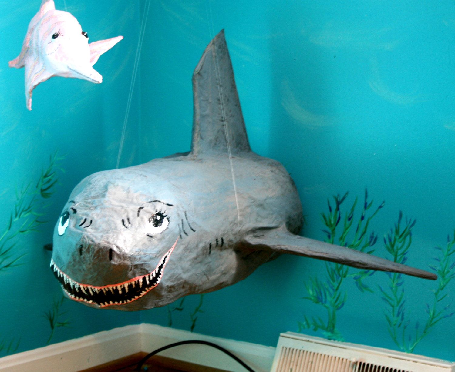 paper mache shark via birthday party ideas paper mache shark 35 00 via