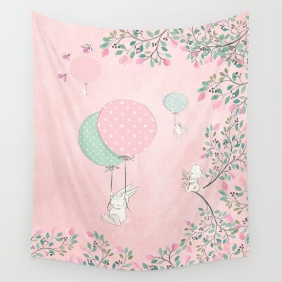 Cute flying Bunny with Balloon and Flower Rabbit Animal on pink floral backround Wall Tapestry