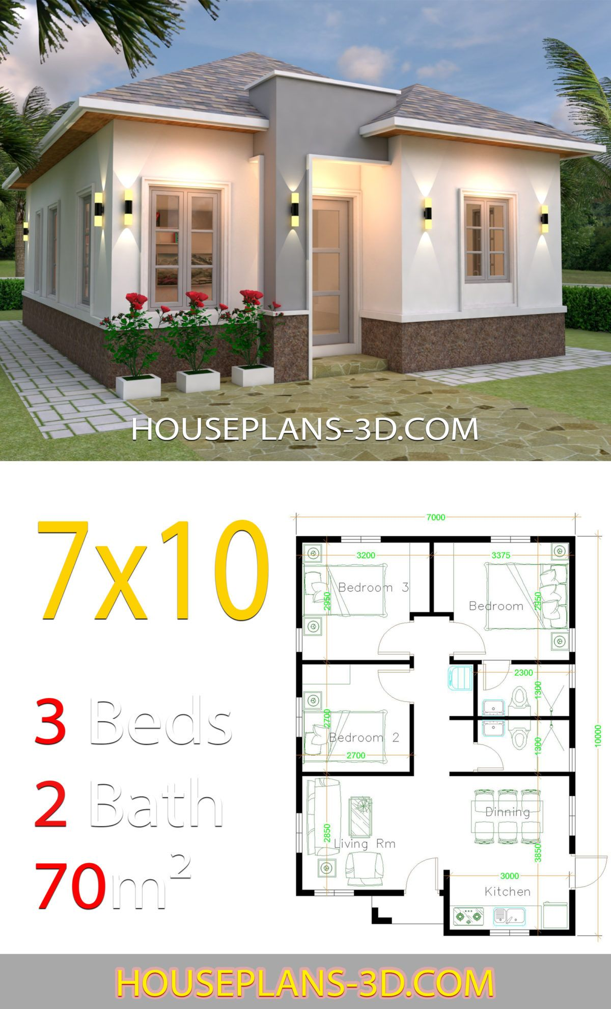 House Plans 7x10 With 3 Bedrooms House Plans 3d In 2020 Affordable House Plans Diy House Plans House Plans