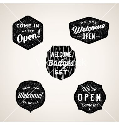 Retro welcome and open signs or labels textured vector 4351948 - by createvil on VectorStock®