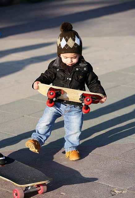 Baby and skateboard