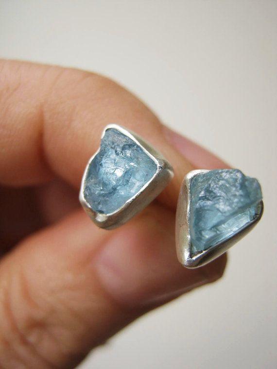Small Rough Raw AQUAMARINE Stud Earrings [by metalmorphoz]