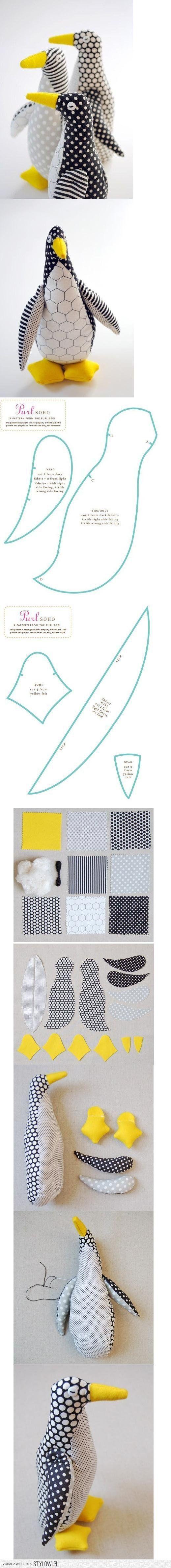 DIY Fabric Penguin DIY Projects   UsefulDIY.com   costura ...