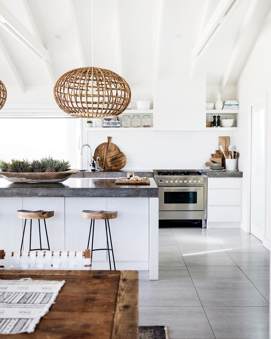 Beach house kitchen. Bohemian kitchen. Exposed beam kitchen. Dream ...