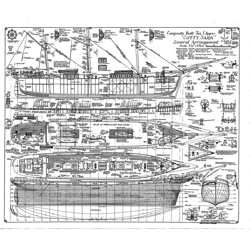 Chris craft model boat plans - Cutty Sark General Arrangement Plan