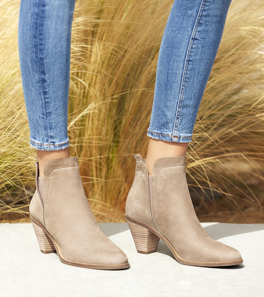 4e6d9de680cf Taupe leather ankle bootie
