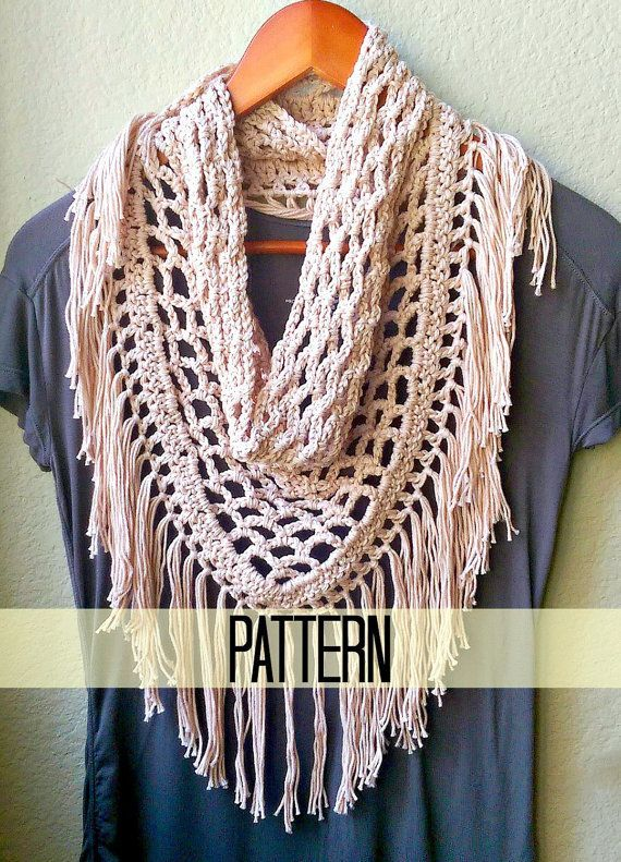 Crochet Scarf Pattern Triangle Scarf Pattern Fringe by MYandGG More 86673a2a90