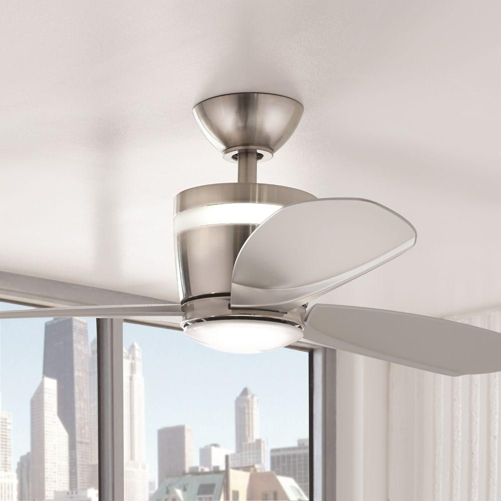 home decorators collection federigo 48 in led indoor brushed nickel ceiling fan - Home Decorators Collection Lighting