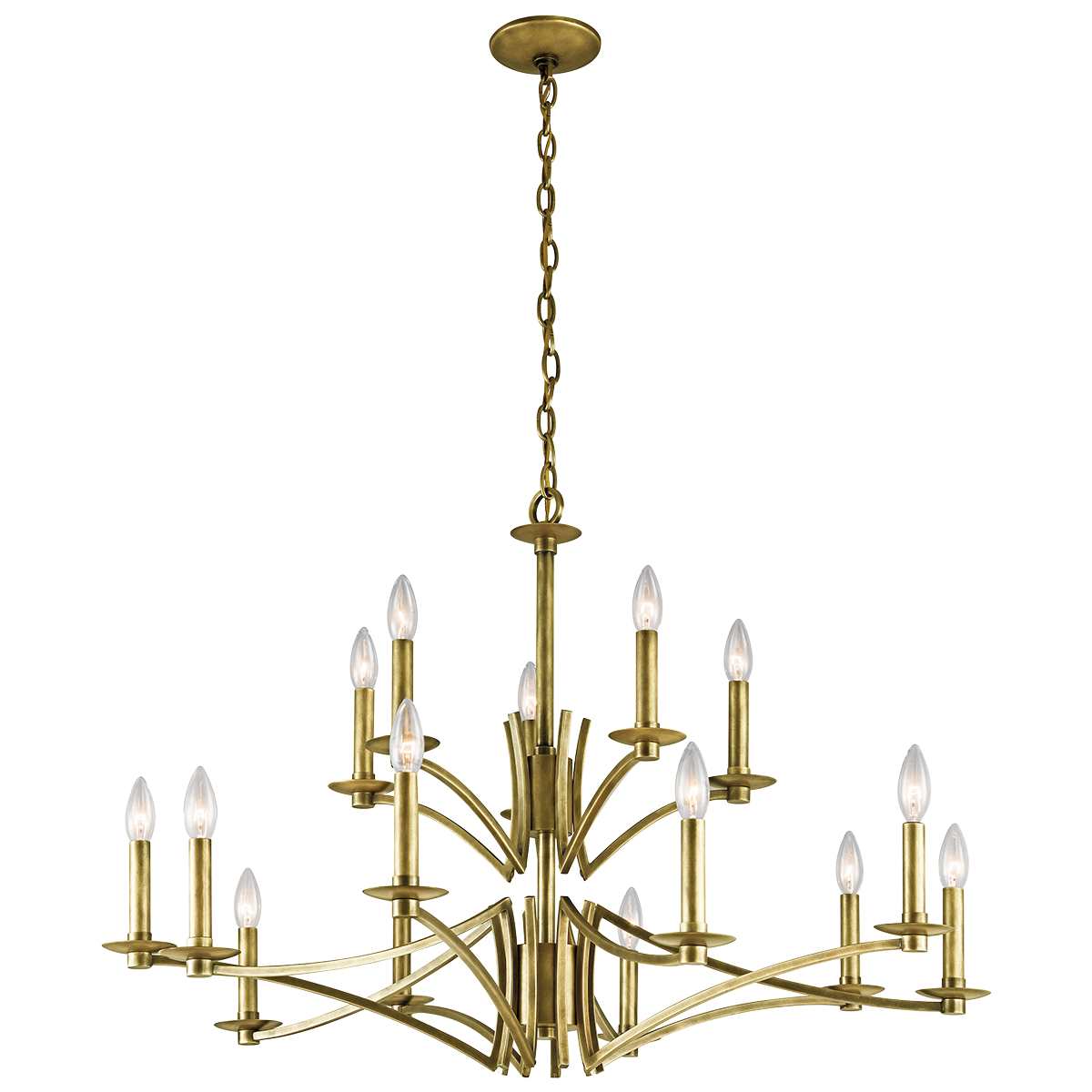 Grayson 15 Light Chandelier In Natural Brass Nbr Candle Style