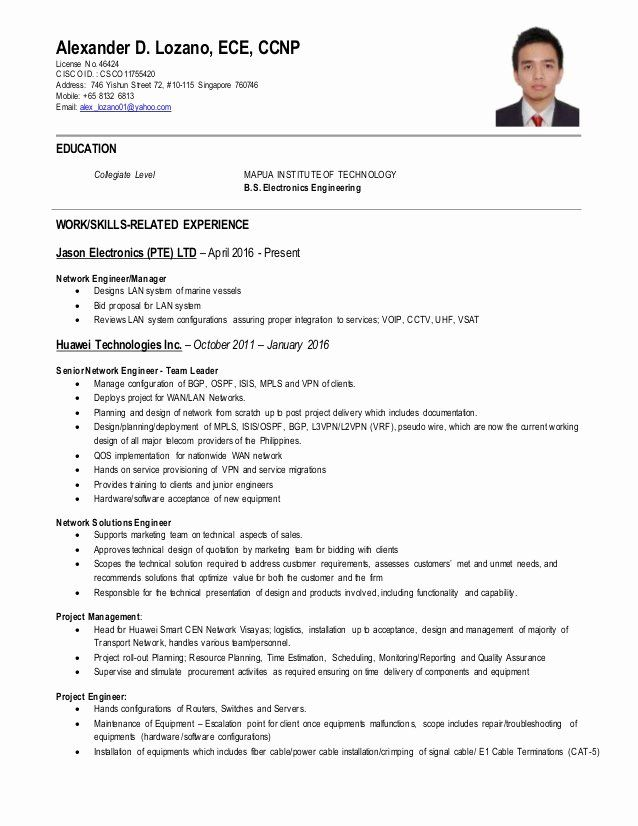 Network Engineer Resume Sample Beautiful Network Engineer Ccnp Cv Network Engineer Job Resume Samples Resume Examples