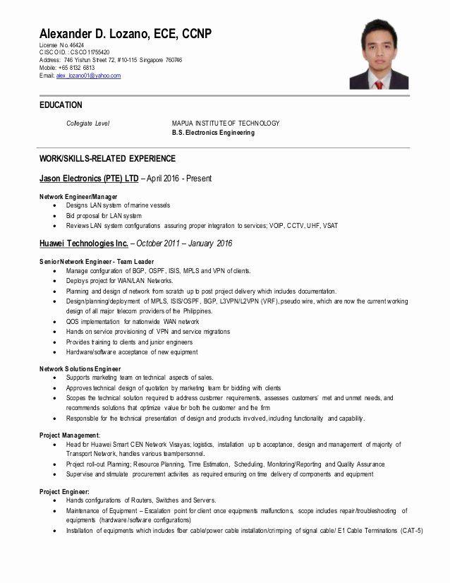 Network Engineer Resume Sample Beautiful Network Engineer Ccnp Cv Network Engineer Job Resume Samples Resume Examples