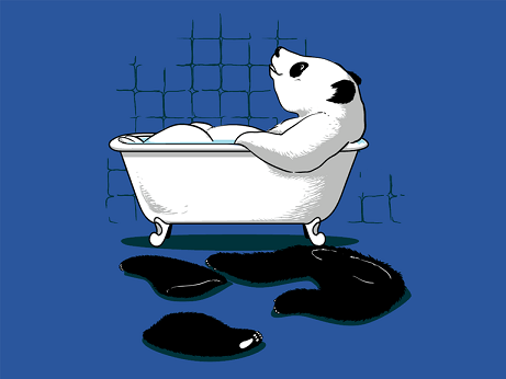Pandas don't mix their colors in the bath