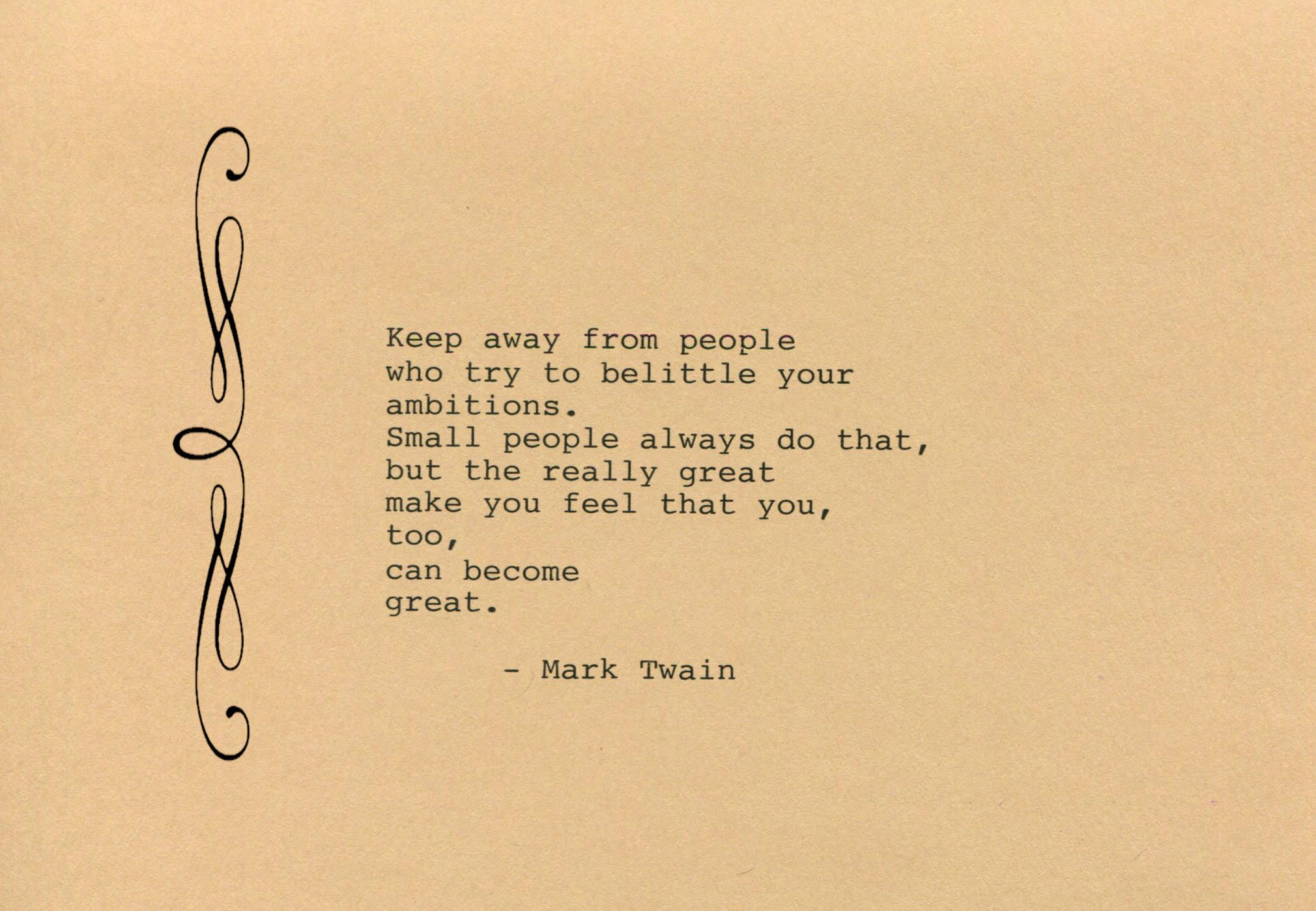 Mark Twain Quote Made on Typewriter Art Quote Wall Art - Keep away ...