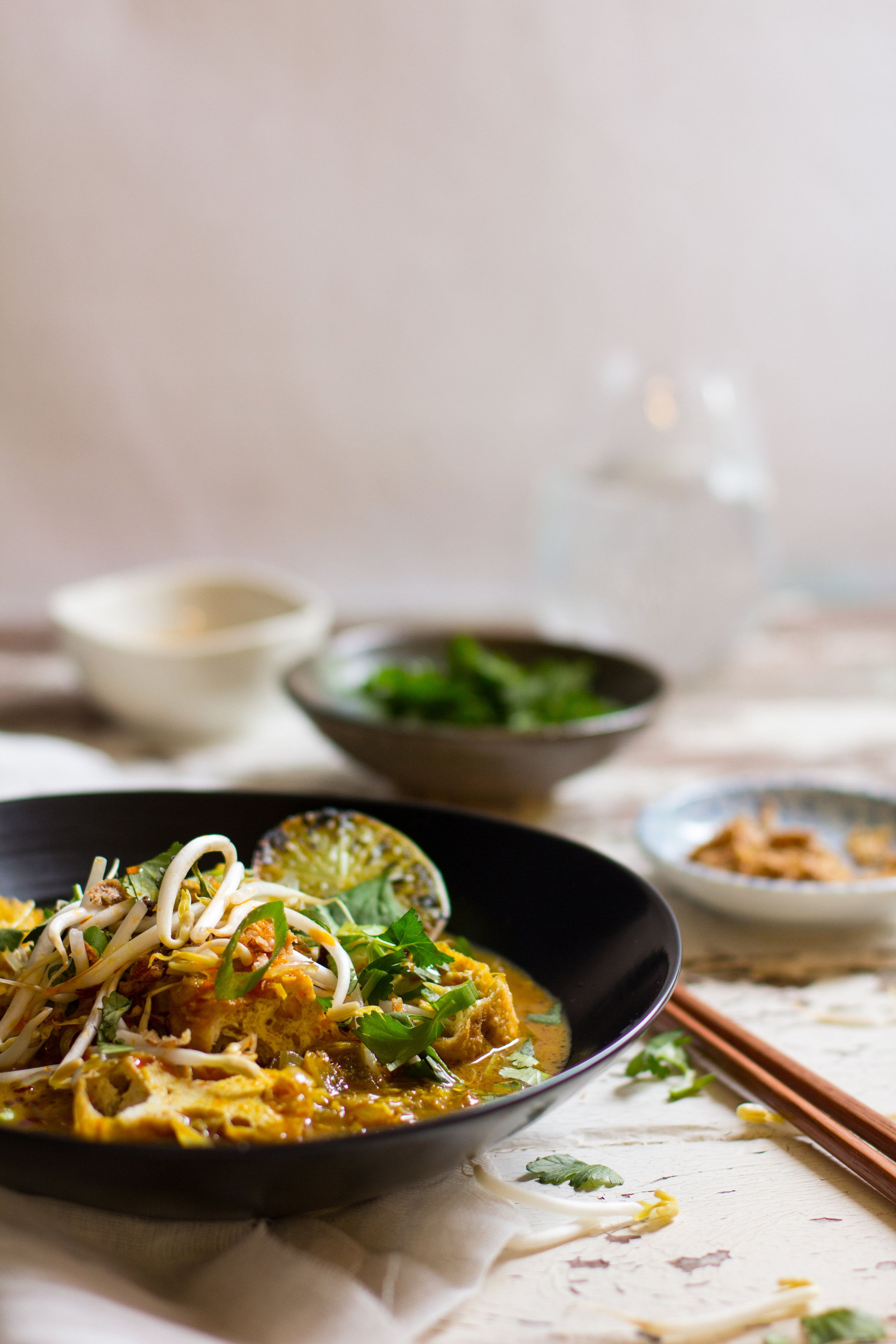 Fresh and fragrant, this curry noodle soup is filled with the flavours of lemongrass, lime leaves and ...