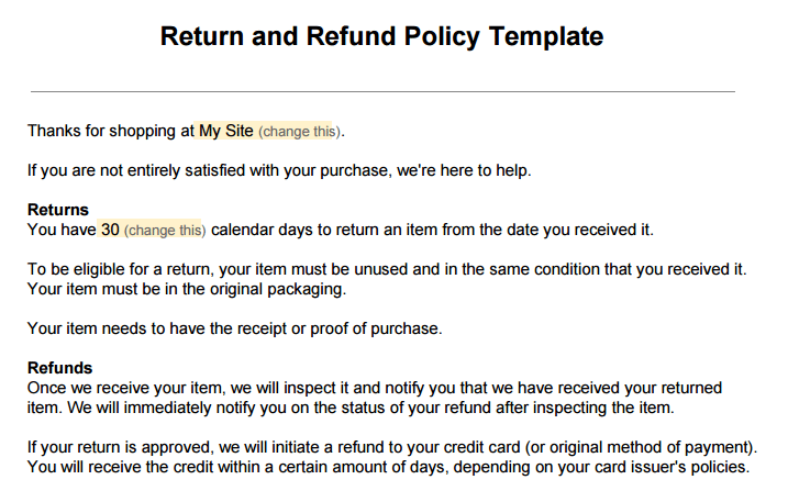 Return Policy Template 311 Policy Template Templates Policies