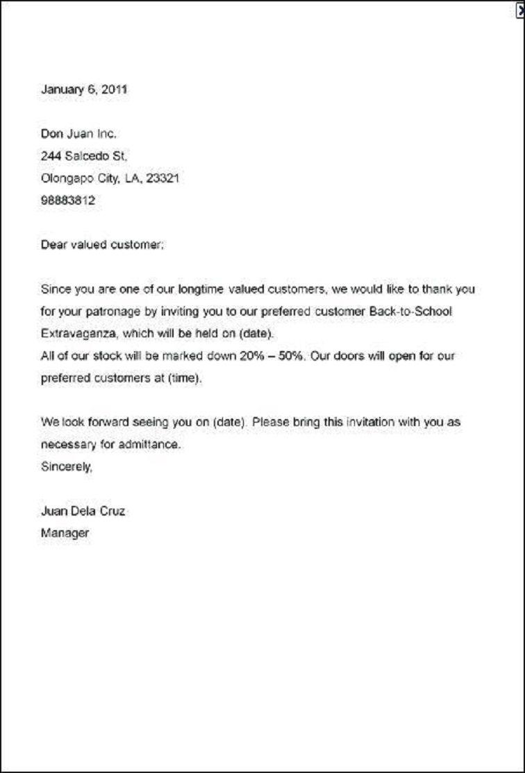 formal party invitation letter sample