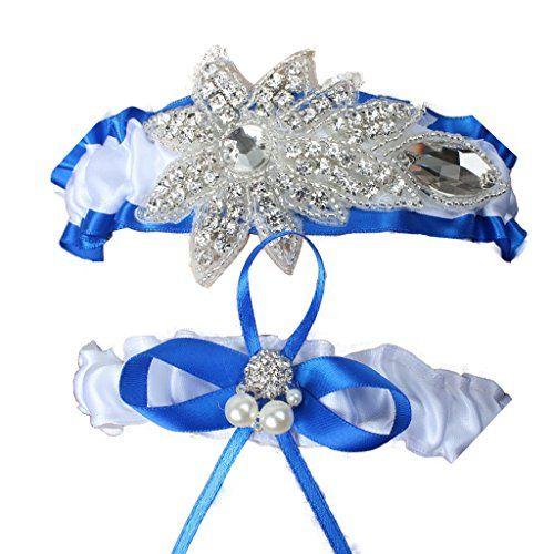 Fashion Plaza Weißes Strumpfband für Hochzeit Abschlussball Zubehörteil mit Strassstein und Perle A-G007 (Small/ 18 Zoll)