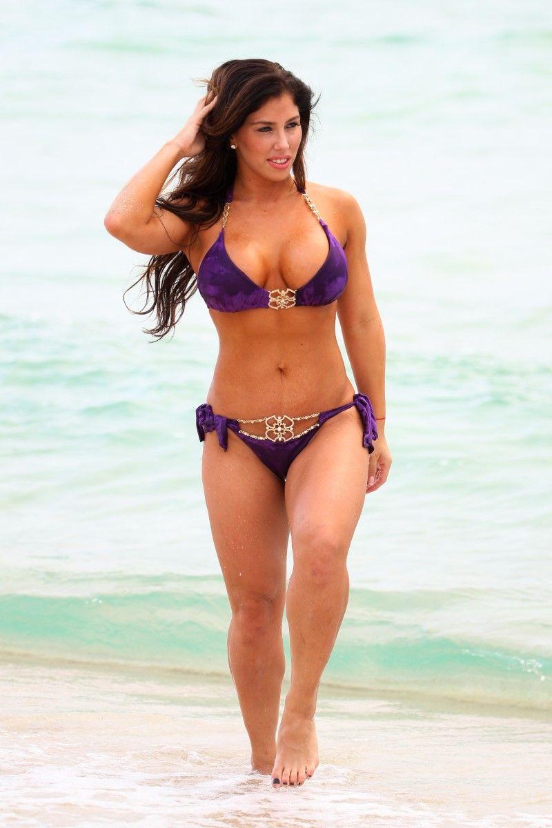 d2da25d84c4b1 Claudia Ortega Purple Thong Bikini Ass On Miami Beach