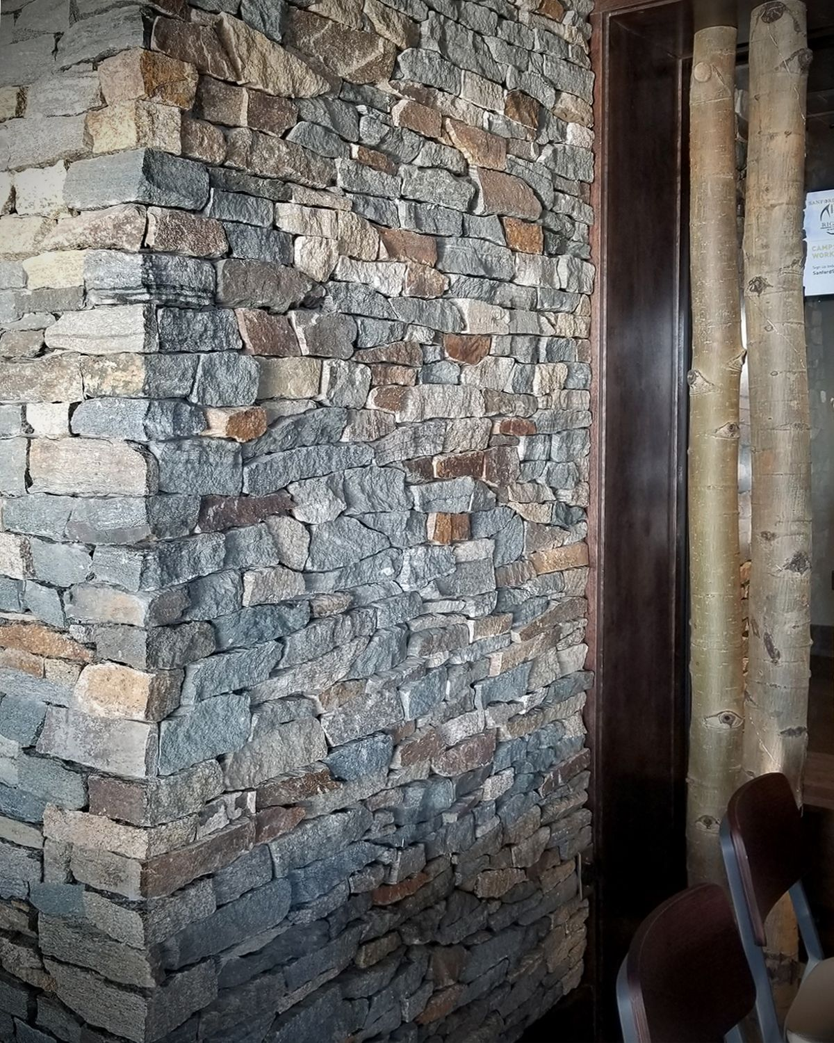 Rustic Wood Interior Restaurant Design Ledge Stone Stacked Stone