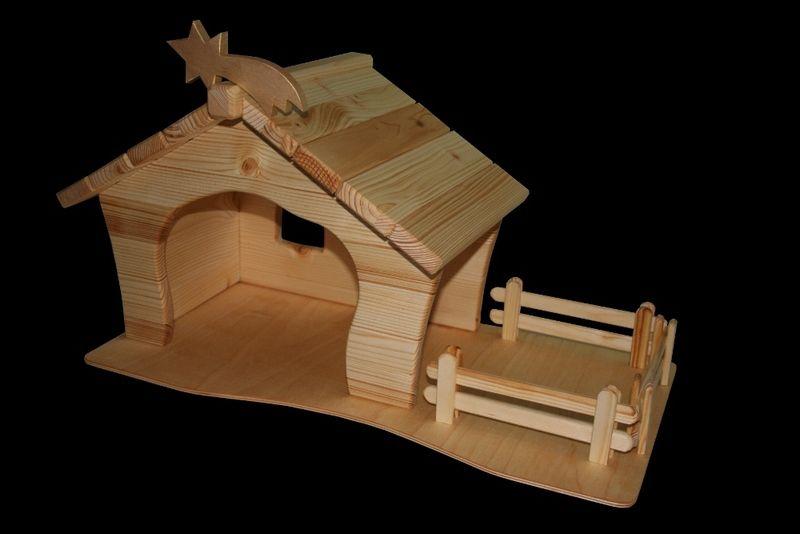 Krippen - Krippe mit 3 Zäunen, Stern und Grundplatte Mod.2 - ein Designerstück von die-Holzfarm bei DaWanda #weihnachtlicheszuhause