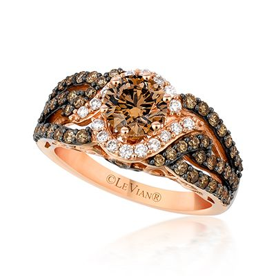 engagement ring from le vian adorned in majestic chocolate diamonds the light center halo offers contrast and brings the fabulous diamond to center stage - Chocolate Diamonds Wedding Rings