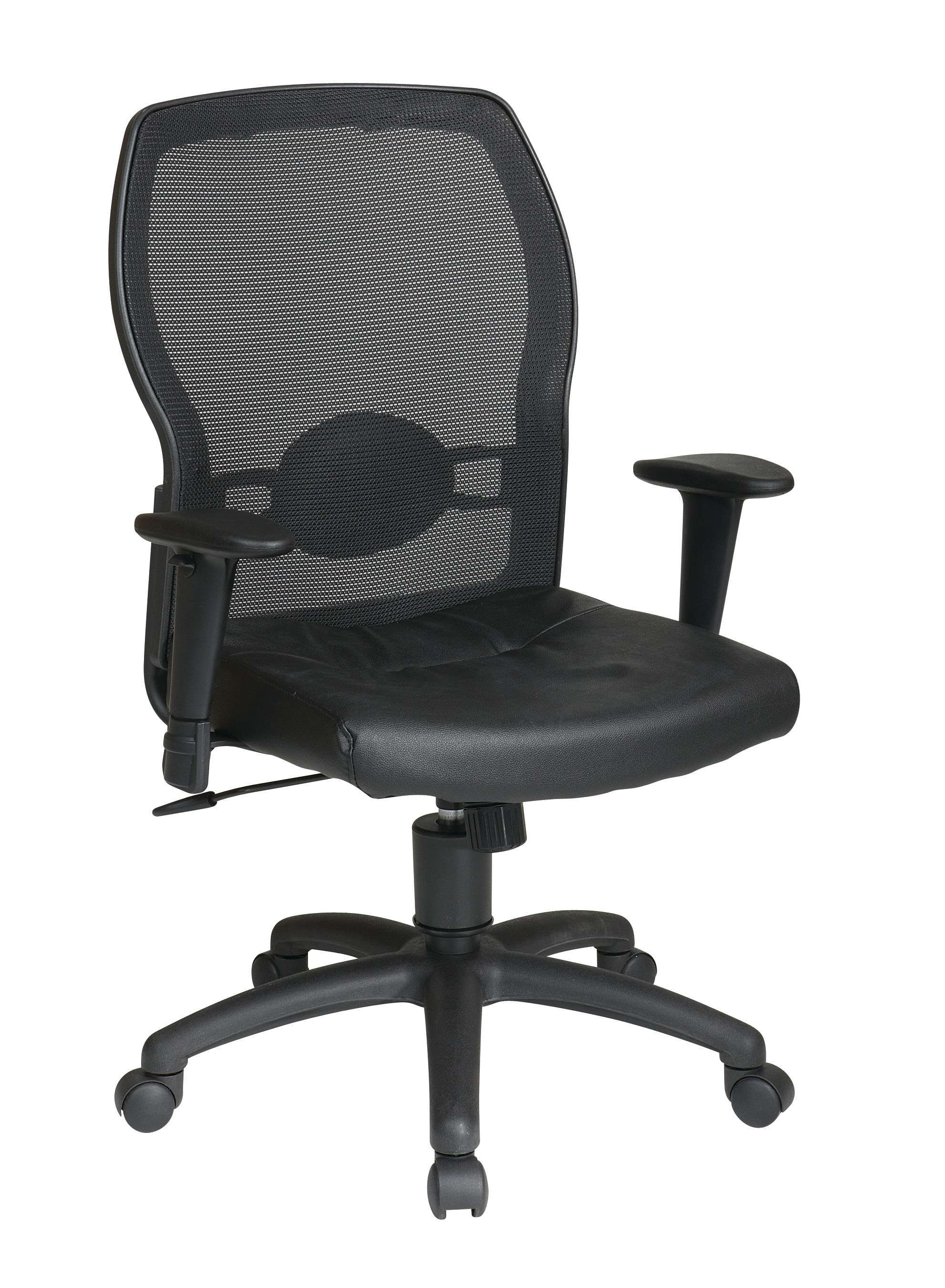 Office Star Woven Mesh Back And Leather Seat Office Chair 599402 Goedekers Com Office Star Black Office Chair Office Chair