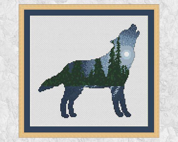 Mountain Wolf Counted Cross Stitch Chart Pattern Crafts Mountain