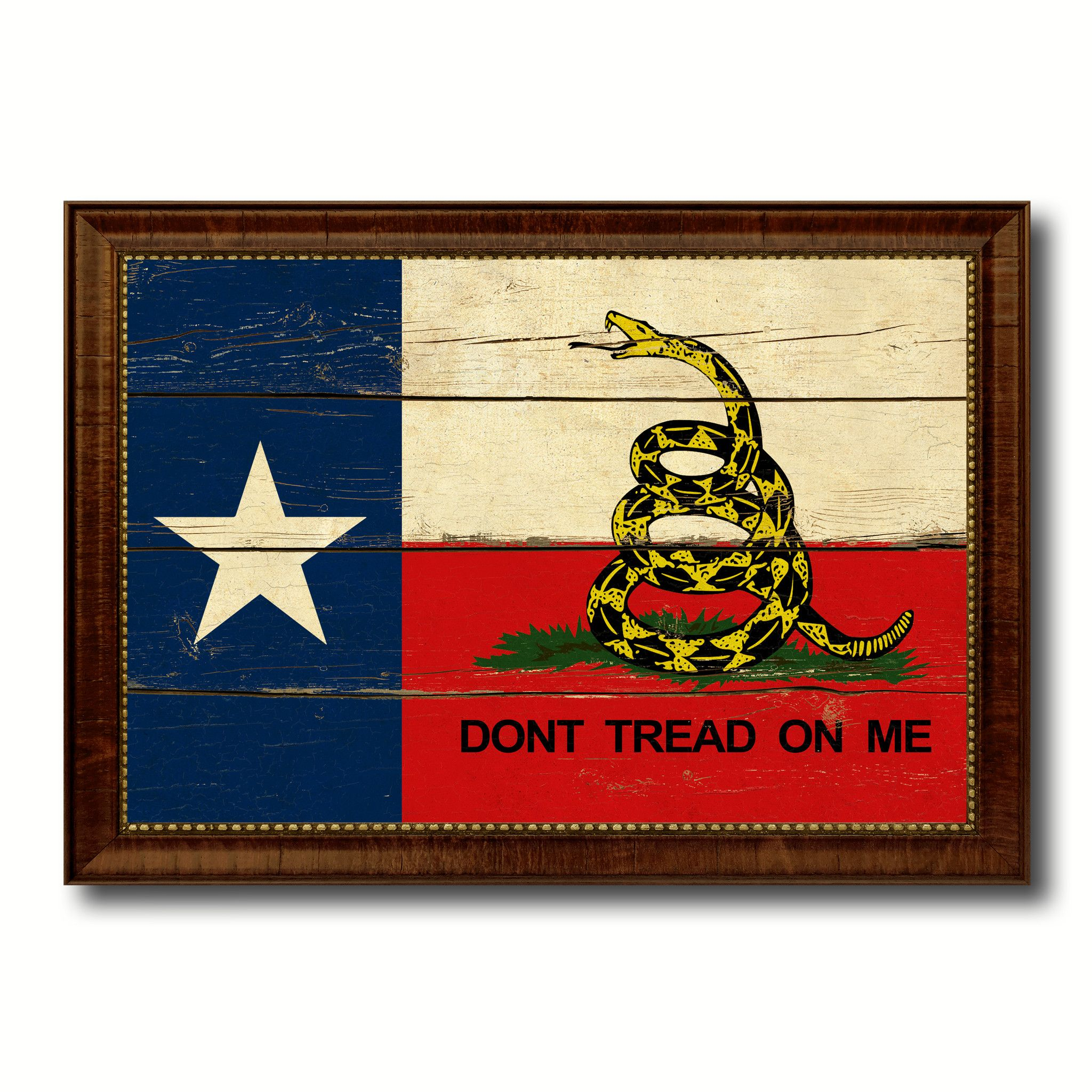 Gadsden Don\'t Tread On Me Texas State Military Flag Vintage Canvas ...