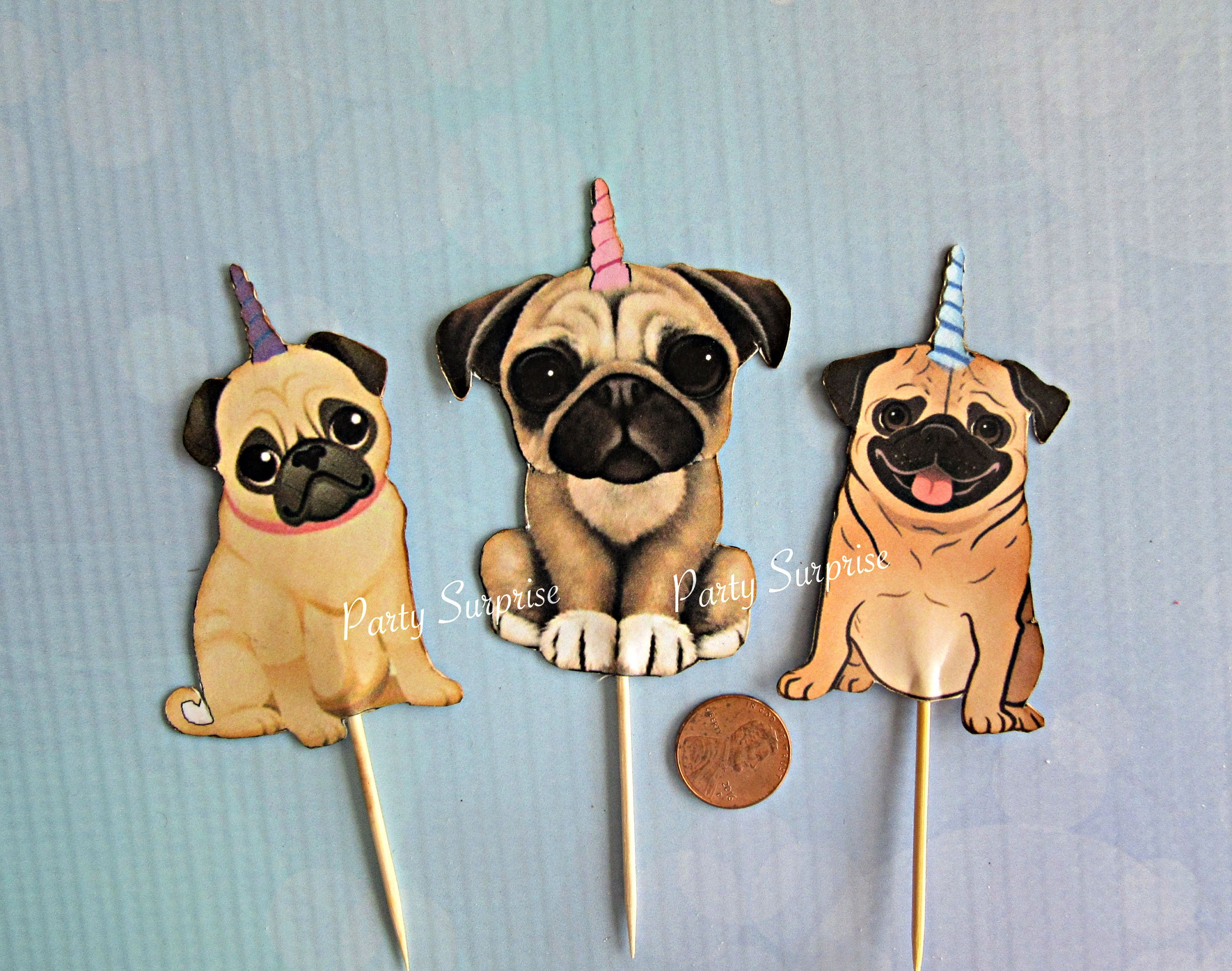 Pugicorn Cupcake Toppers Dog Party Toppers Custom Made Pug Party