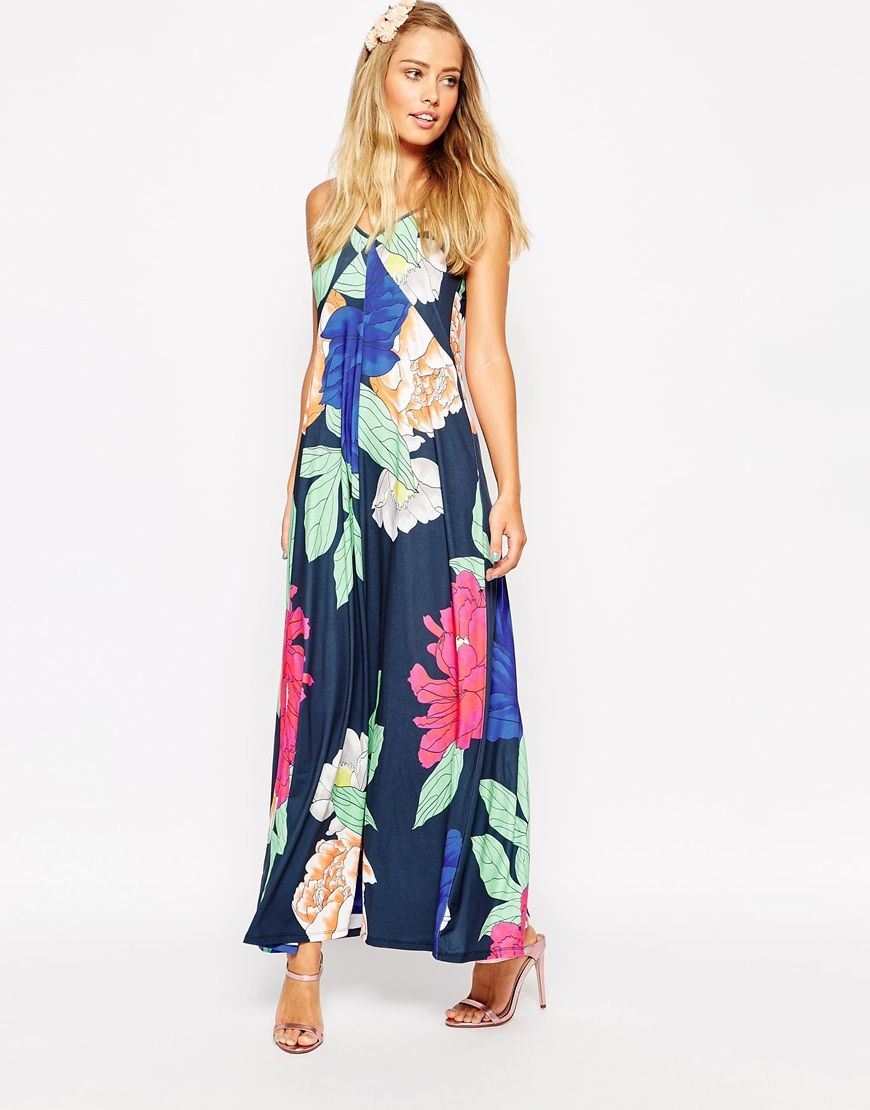 Beach wedding dresses guest  Image  of ASOS Strappy Open Back Maxi Dress in Oversized Floral
