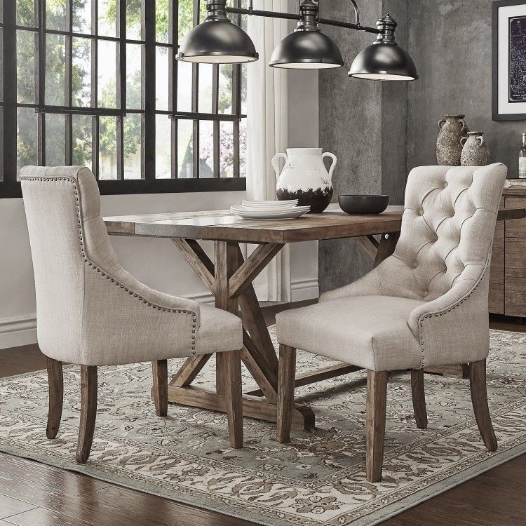 Button tufted chairs set of 2 linen beige dining living