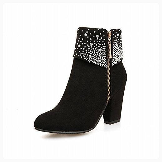 Womens Round Closed Toe High Heels Imitated Suede Solid Boots with Chunky Heels and Glass Diamond