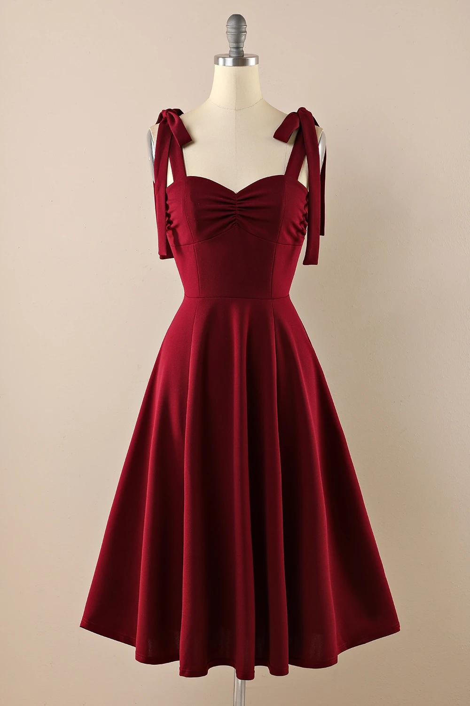 Burgundy Vintage Dress With Bows In 2021 Vintage Red Dress Vintage Homecoming Dresses Bordeaux Dress [ 1500 x 1000 Pixel ]