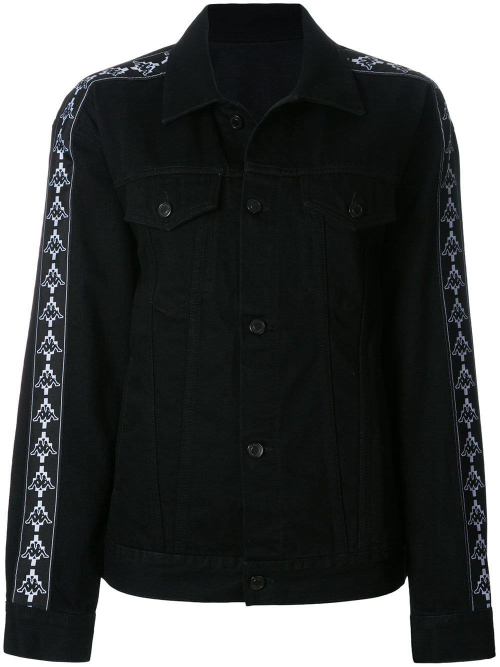 Marcelo Burlon County Of Milan Kappa Denim Jacket Farfetch Denim Jacket Jackets Black Denim Jacket [ 1334 x 1000 Pixel ]