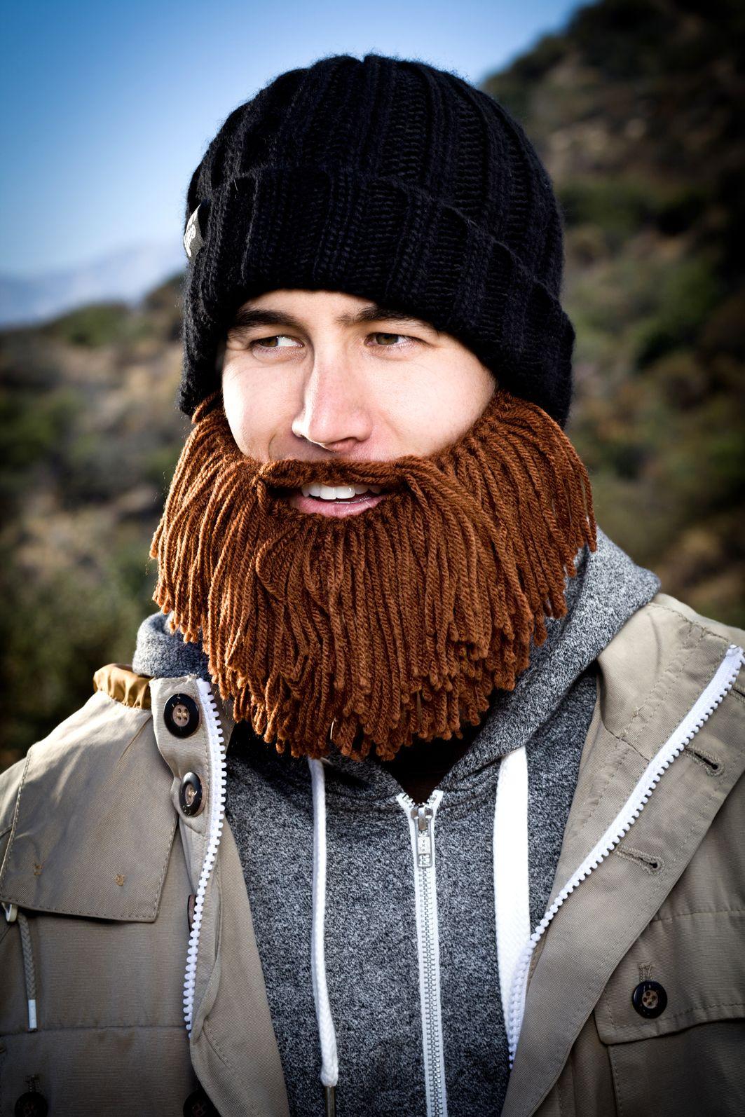 1619d3b45 Vagabond Barbarian Beard Head knit beanie with beard! Makes a great ...