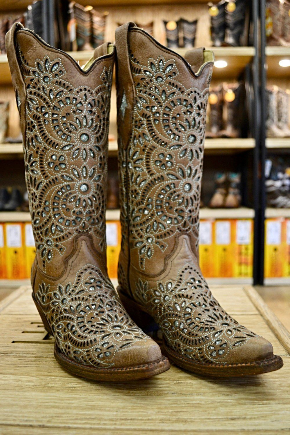 cd32f66a9556 Corral Ladies Light Brown w/ Green Glitter Inlay Snip Toe Cowgirl Boots  A3352