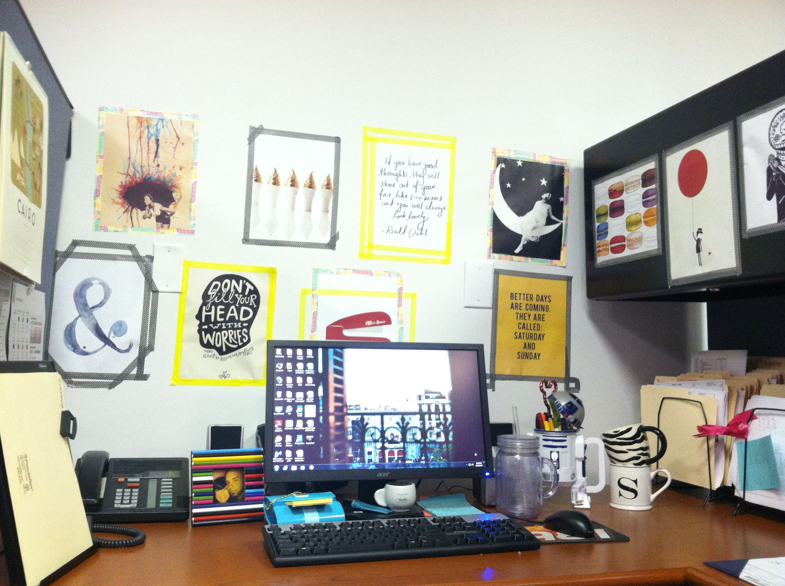 diy frames made using washi tape helps add personality to a cubicle or dorm