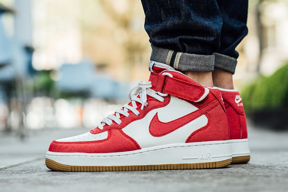 nike air force 1 mid 07 red white