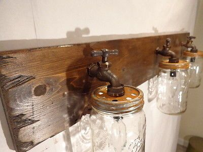 Mason Jar Vanity Light Fixture Country PrimitiveRustic Wood - Wood bathroom light fixtures