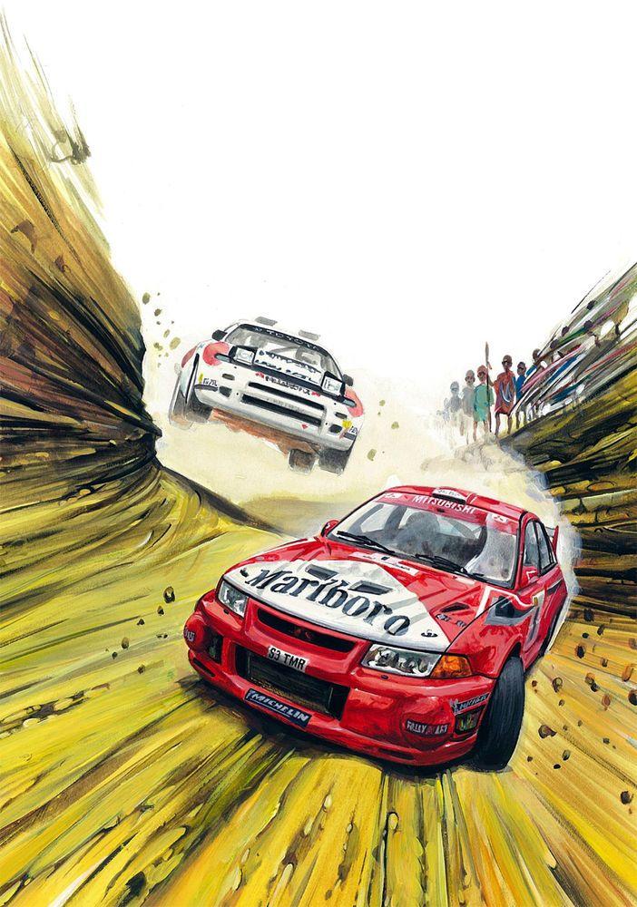 Tommi Makinen Mitsubishi Lancer Rally WRC Affiche Racing