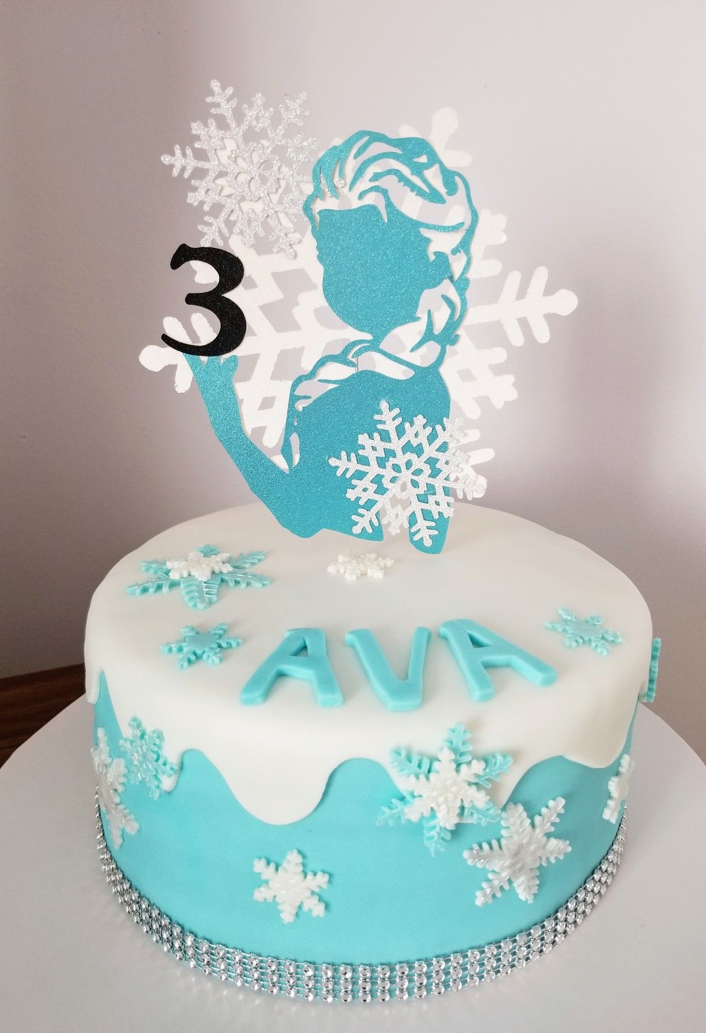Wondrous Frozen Inspired Cake With Cricut Caketopper With Images Frozen Funny Birthday Cards Online Elaedamsfinfo