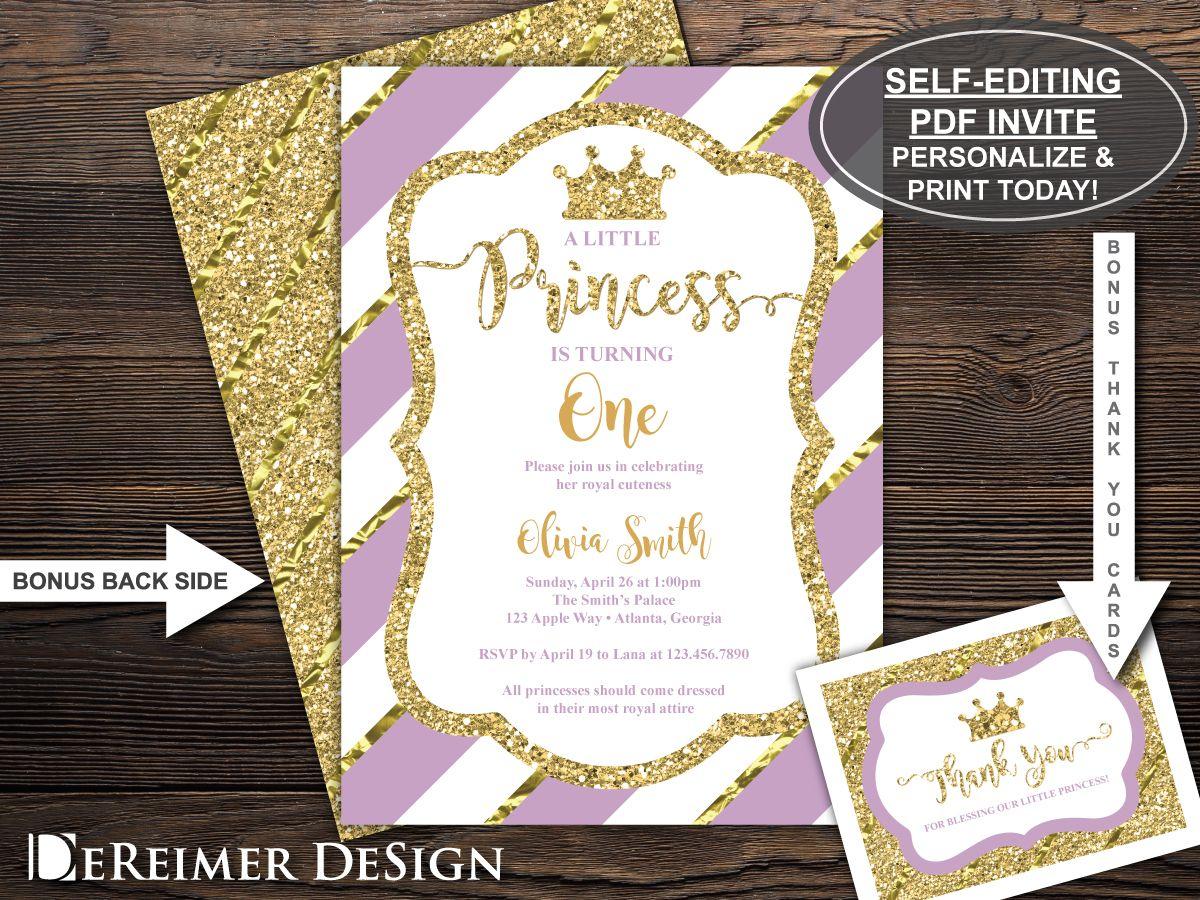 Princess Birthday Party Invitation, Princess Invite, First Birthday ...