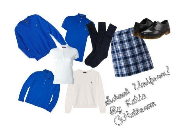 """School Uniform!!!"" by karolinajane on Polyvore featuring Polo Ralph Lauren, Ralph Lauren, Lands' End, Dr. Martens and uniform"