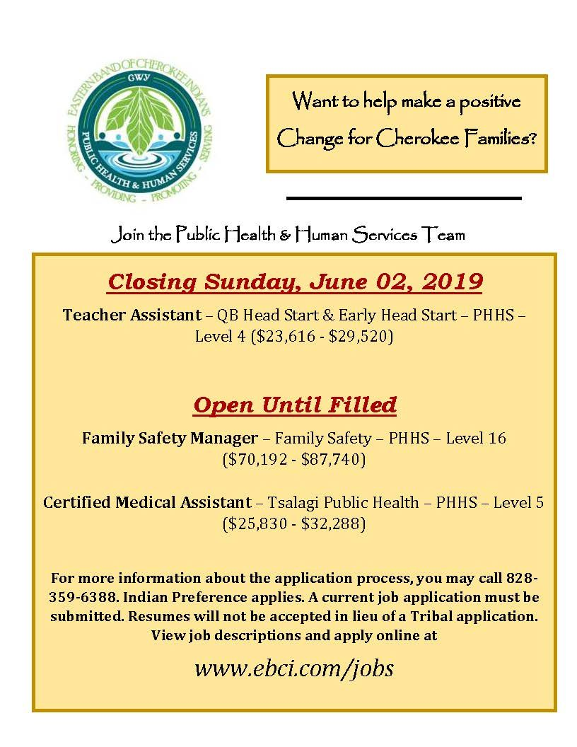 Pin by EBCI Public Health & Human Ser on PHHS Job