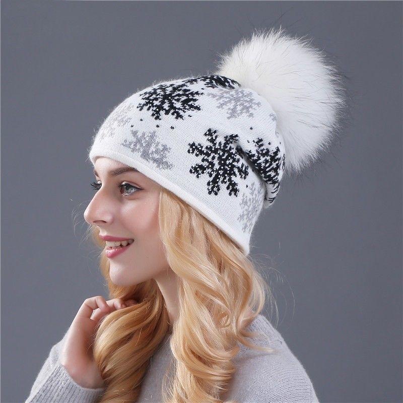 7096d8a185d6bb Real Fur Pom Knitted Black White Pink Winter Hat Women Skullie Beanie  Gorros Cap #HatsForWomenBeanie